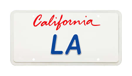 California License Plate with LA Printed on It. Stockfoto