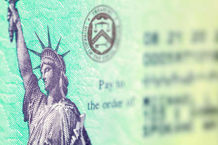 Federal Tax Refund Check Close Up of Statue of Liberty.