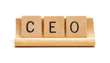 Wood Letter Blocks Spelling Out CEO Cut Out on White. Stok Fotoğraf