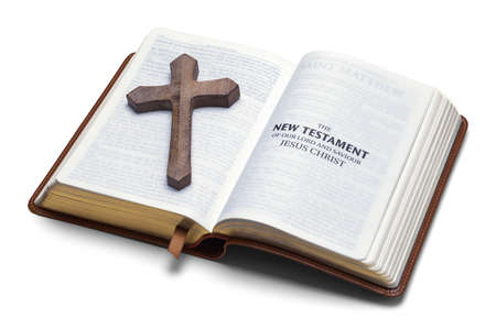 New Testament with Wooden Cross Cut Out.