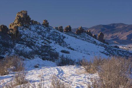 front range: Devils Backbone rock formation in winter scenery, Colorado Front Range near Loveland, hiking trail