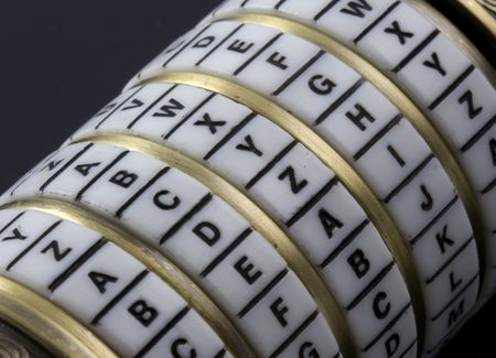 decode: password or keyword - combination puzzle box with rings of letters
