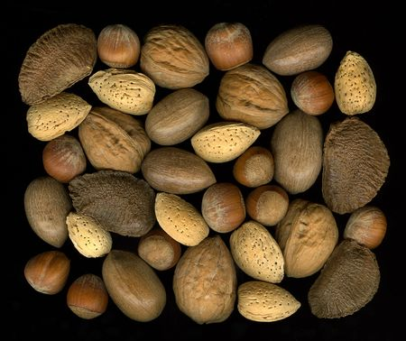 collection of mix nuts in shells: walnut, hazelnut, pecan, almond, brazil on black background