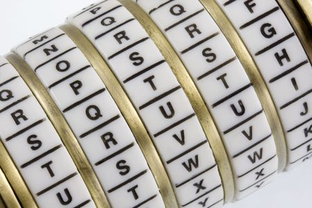 secret code: Word TRUTH set as a secret keyword in a combination puzzle box with letter rings known as Cryptex Stock Photo