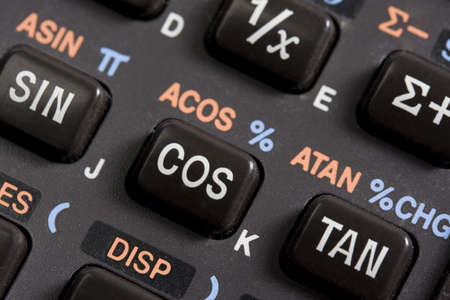 inverse: A detail of scientific calculator with sinus, cosinus, tangens, inverse, sum functions.