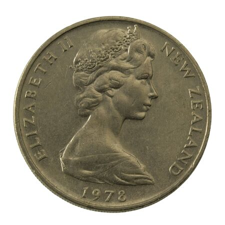 queen elizabeth: Queen Elizabeth II on a well scratched New Zealand coin (20 cents from 1978)