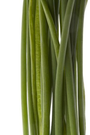 bunch of green chives, macro shot,  isolated on white Stock Photo - 2925388