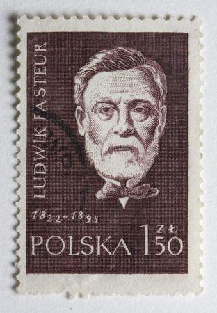 Porträt von Louis Pasteur, französischer Chemiker und Mikrobiologe, auf einem Vintage-Poststempel aus Polen Standard-Bild - 3098908