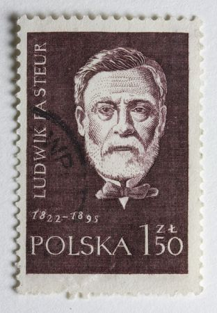 Portrait of Louis Pasteur, French chemist and microbiologist,  on a vintage post stamp from Poland
