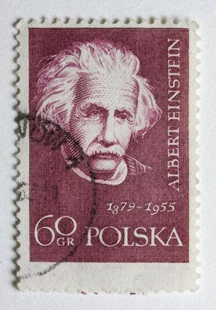 Albert Einstein portrait on a vintage, canceled post stamp from Poland Imagens - 3098909