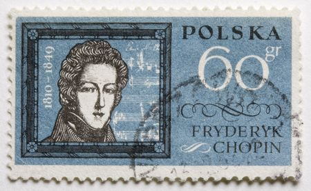 chopin: a vintage, canceled,  post stamp from Poland with a portrait of Frederic Chopin