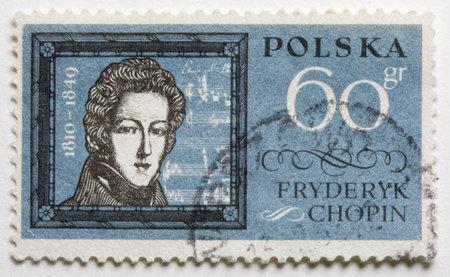 frederic: una vendimia, cancelado, puesto sello de Polonia con un retrato de Frederic Chopin