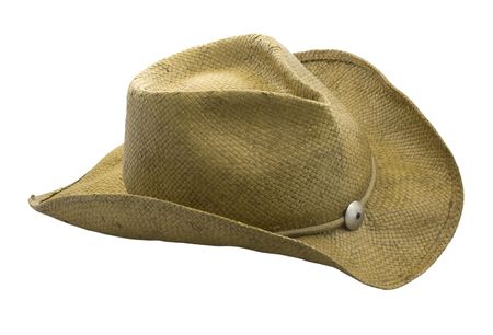 western style straw hat isolated on white. clipping path included