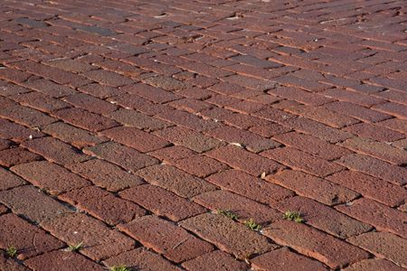 rough red brick pavement with a diagonal pattern
