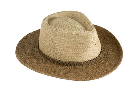 straw hat, cowboy style, in two colors for sun protection, isolated, clipping path included