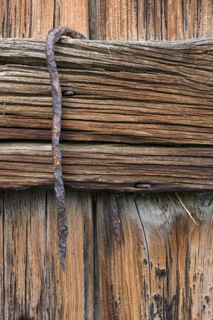 old barn wall background - weathered wood and rusty hook Stock Photo - 3511372
