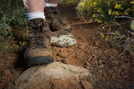 hiker feet in heavy hiking boots on a mountain or desert trail with red dirt, sandstone, and yellow wildflowers