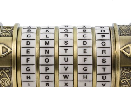 enter word set up as a password to combination puzzle box (cryptex) with rings of letters; white background, copy space