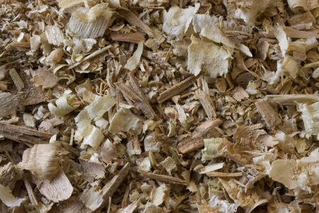 white and brown wood shavings, chips and sawdust background