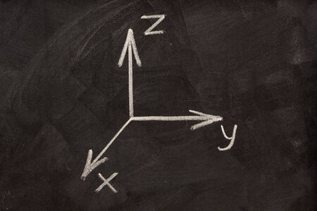 xyz: Cartesian coordinate system sketched with white chalk on blackboard Stock Photo