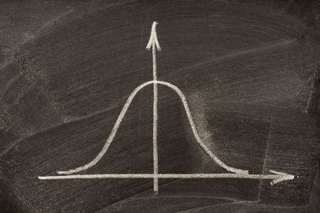 curve: Gaussian, bell or normal distribution curve sketched with white chalk on a blackboard