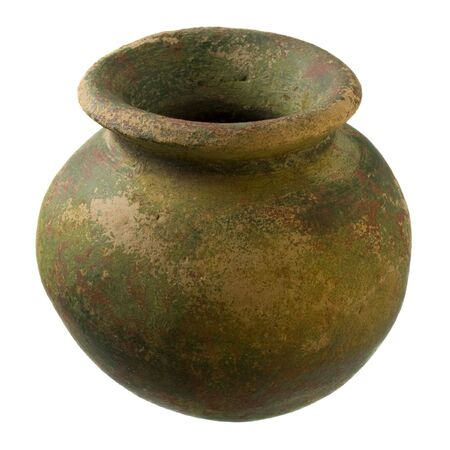 small green and brown clay plant pot (mass produced planter) with rough, grunge finish, isolated on white Banco de Imagens