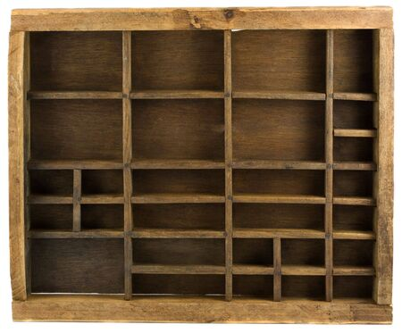 Old wooden typesetter case (drawer) isolated on white Stock Photo - 3851791