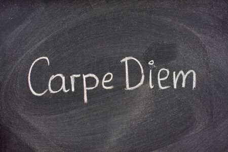 horace: Enjoy life before its too late, existential cautionary Latin phrase, Carpe DIem, a quote from Horace, handwritten with white chalk on blackboard.