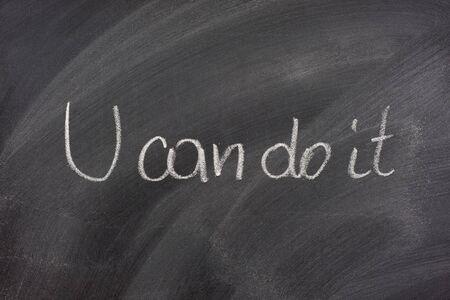 You can dot it phrase handwritten with white chalk on blackboard Stock Photo - 3925874