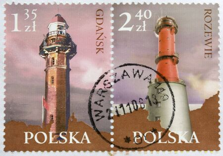 warszawa: Two lighthouses, Gdansk and Rozewie, from the Baltic Sea coast on post stamps from Poland canceled in Warszawa (Warsaw) Stock Photo