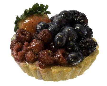 fruit tart with rasperries, blueberries, blackberries and strawberry isolated on white background Stock Photo - 3960123