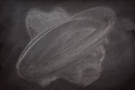 blank blackboard background with white chalk sudt and eraser smudges Stok Fotoğraf