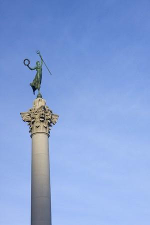 dewey: statua femminile vittoria con un tridente, in cima a una colonna monumento che celebra la vittoria di Dewey Ammiraglio oltre la marina spagnola, durante la guerra ispano-americana. San Francisco, California, Stati Uniti d'America