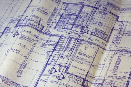 detail of 40 years old house blueprint - main floor plan Stock Photo - 4067755
