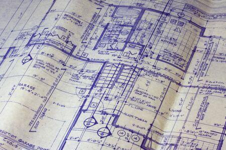 detail van 40 jaar oude huis blauwdruk - belangrijkste plattegrond