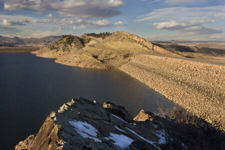 horsetooth rock: two rock dams of Horsetooth Reservoir and Centennial Road at foothills of Rocky Mountains in Colorado near Fort Collins Stock Photo
