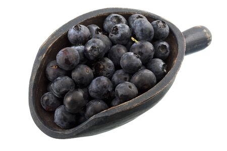 fresh blueberries on a rustic wooden scoop, isolated on white Stock Photo - 4082109