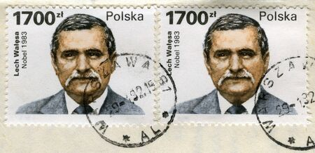 politician: Lech Walesa, Polish politician, Solidarity labor union leader, Peace Nobel Price winner on two old (1990) canceled post stamps from Poland