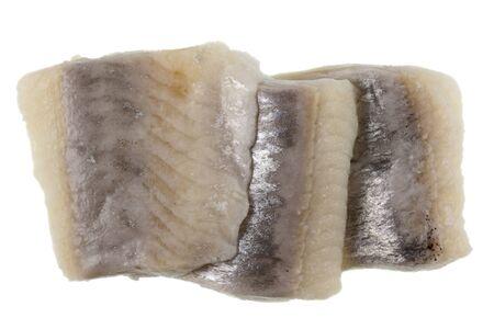 three slices of  herring marinated  in wine sauce, macro shot, isolated on white Stock Photo - 4167390