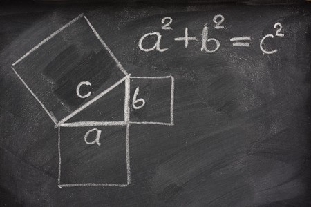 Pythagorean theorem sketched with white chalk on a blackboard photo