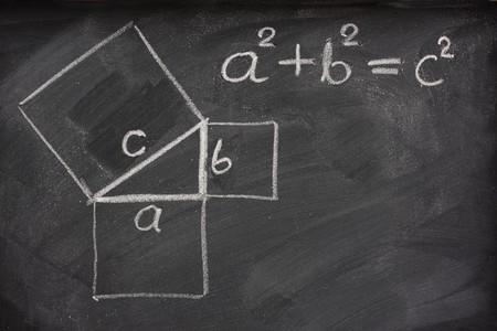 teorema: Teorema de Pit�goras dibujado con tiza blanca en una pizarra