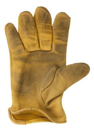 mano derecha: desgastado, amarillo ciervos cuero, guante de la mano derecha, aislado en blanco