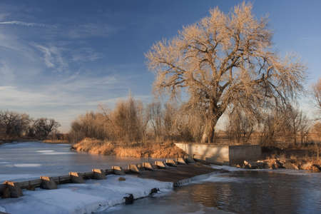 dam on the Cache la Poudre River diverting water into Evans Ditch for farmland irrigation in Colorado, winter scenery