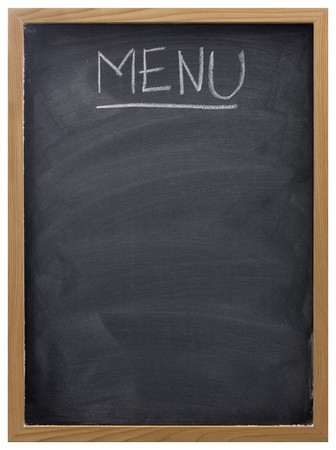 menu: blank blackboard in wood frame  with white chalk smudges used a restaurant menu Stock Photo