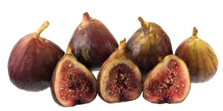 fresh Turkish figs isolated on white, whole fruits and cross sections Stock Photo - 4289820