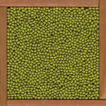 mung beans  background in a primitive, wooden frame or box Stock Photo - 4311190