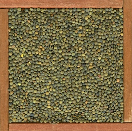 French green lentils background in a primitive, wooden frame or box Stock Photo - 4311200
