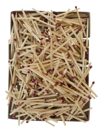 pile of matches over empty boxes isolated on white background photo