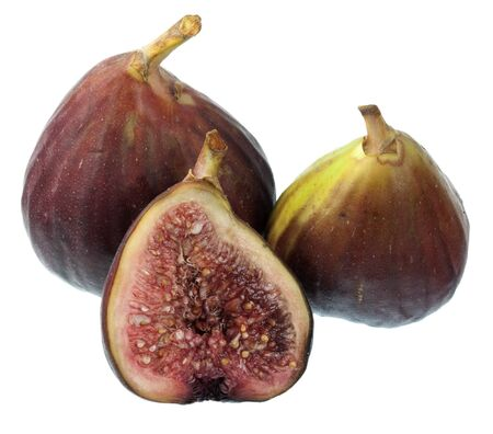 three fresh Turkish figs isolated on white, whole fruits and cross section Stock Photo - 4311202