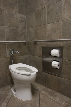clean white toilet in a public restroom with dark stone walls photo